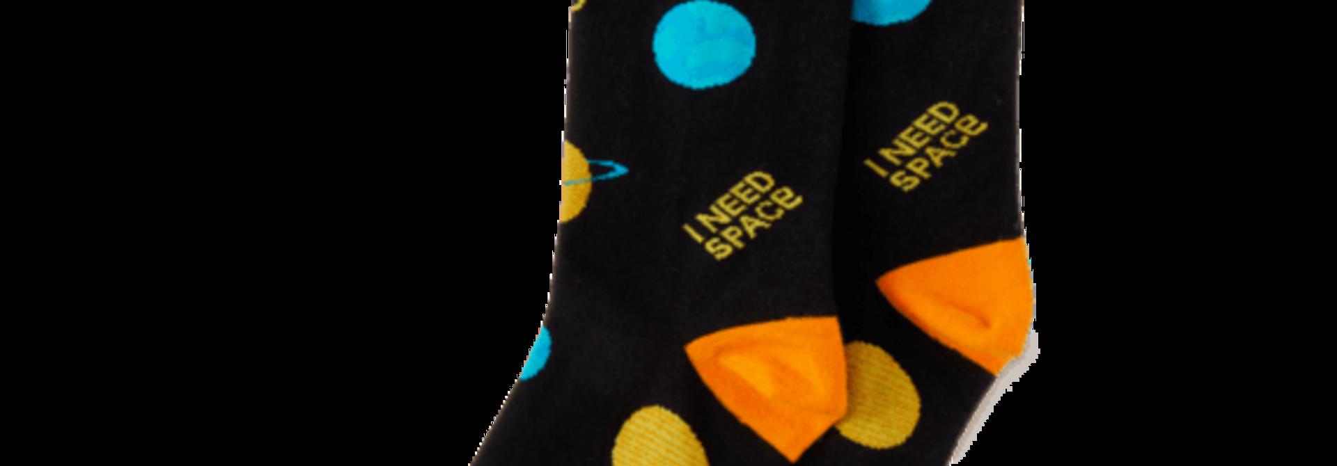 Men's Crew Sock I Need Space, Jet Black