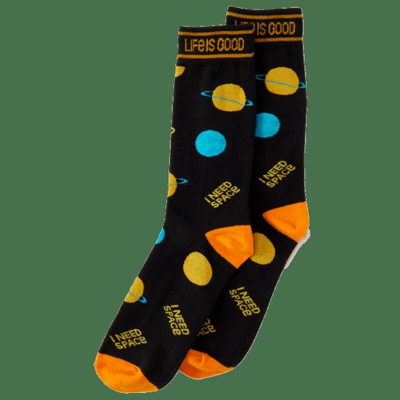 Men's Crew Sock I Need Space, Jet Black-1