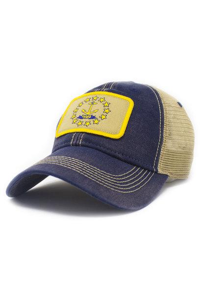 Rhode Island Flag Trucker Hat, Navy