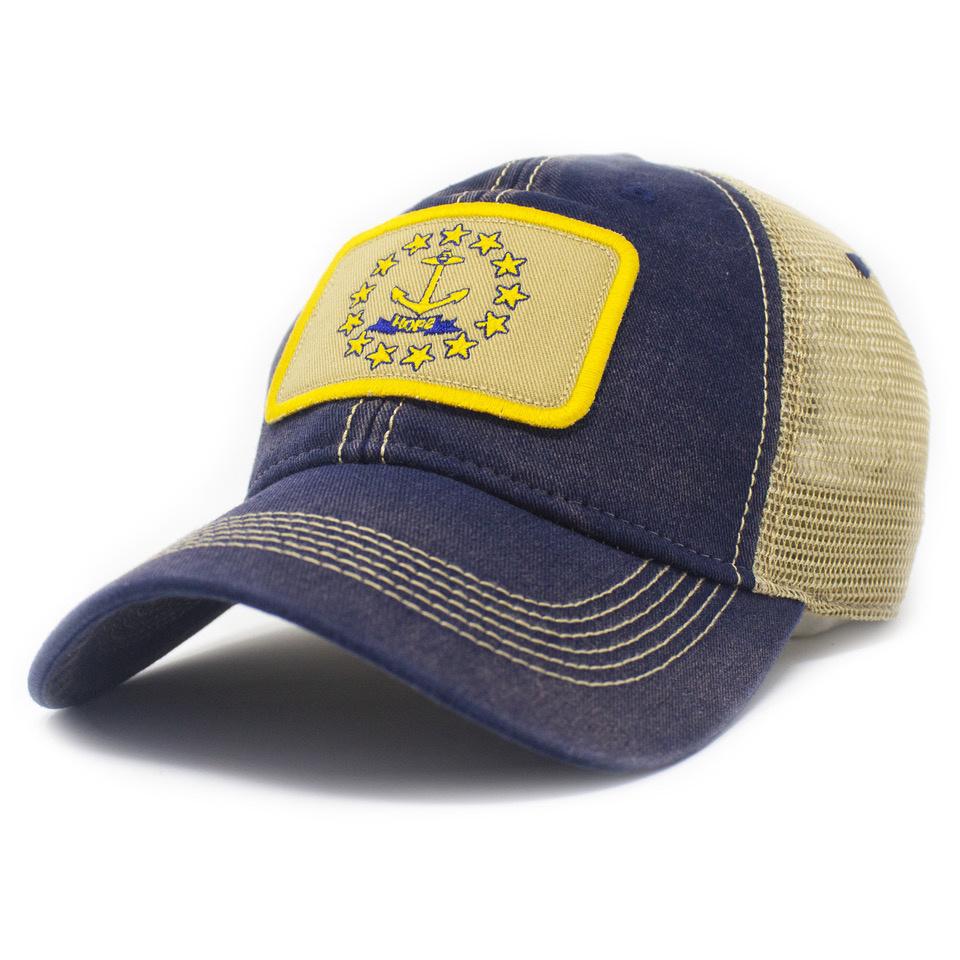 Rhode Island Flag Trucker Hat, Navy-1