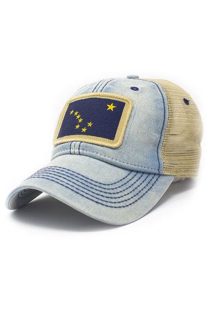 Alaska Flag Patch Trucker Hat, Americana Blue