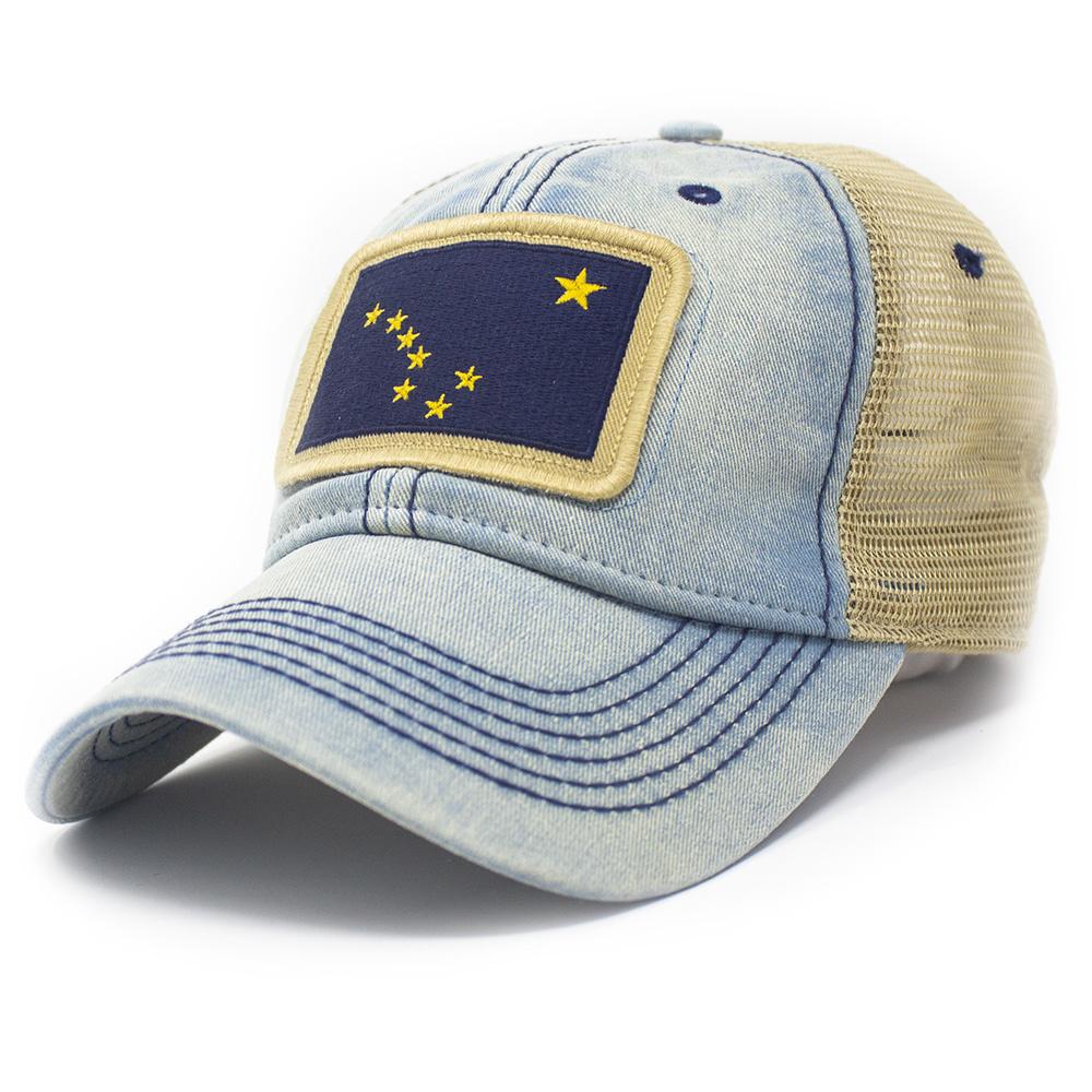 Alaska Flag Patch Trucker Hat, Americana Blue-1