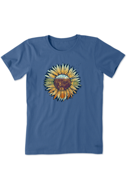 W's Sunflowerscape Crusher Tee, Vintage Blue
