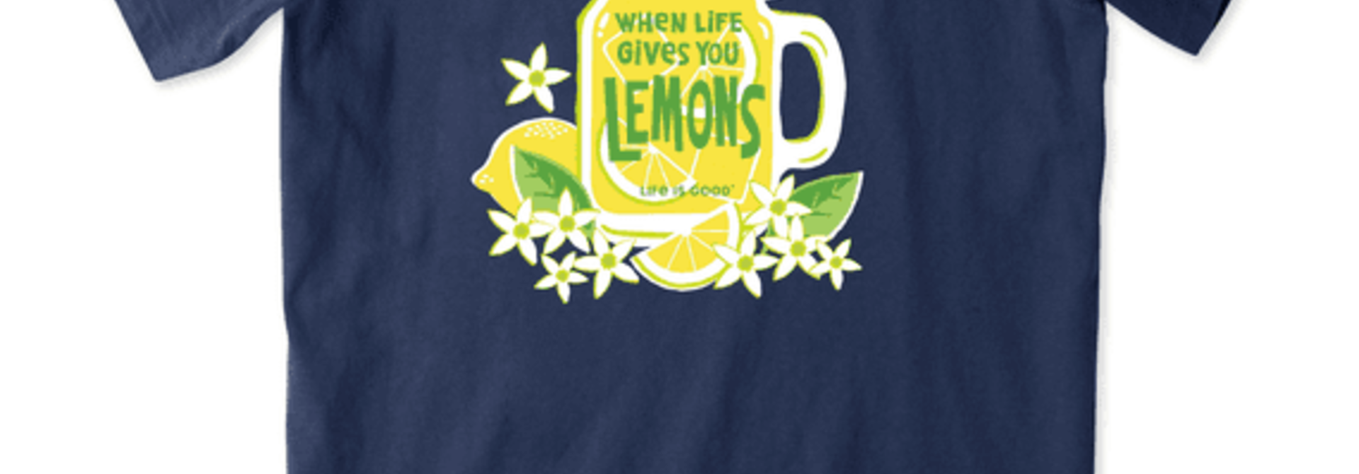 W's Life Gives You Lemons Short Sleeved Crusher Tee, Darkest Blue