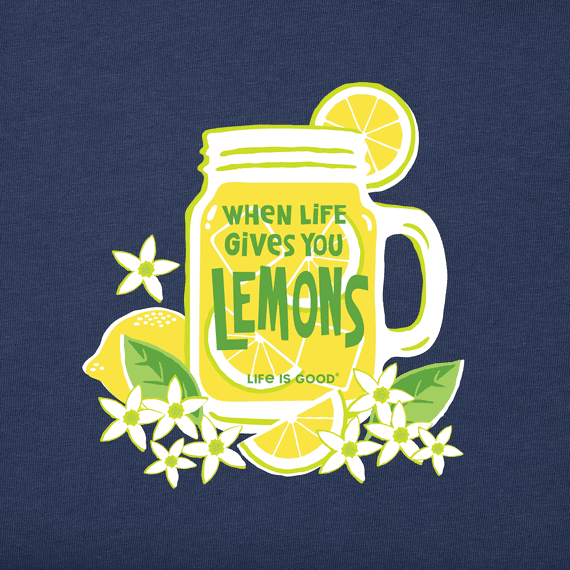 W's Life Gives You Lemons Short Sleeved Crusher Tee, Darkest Blue-2