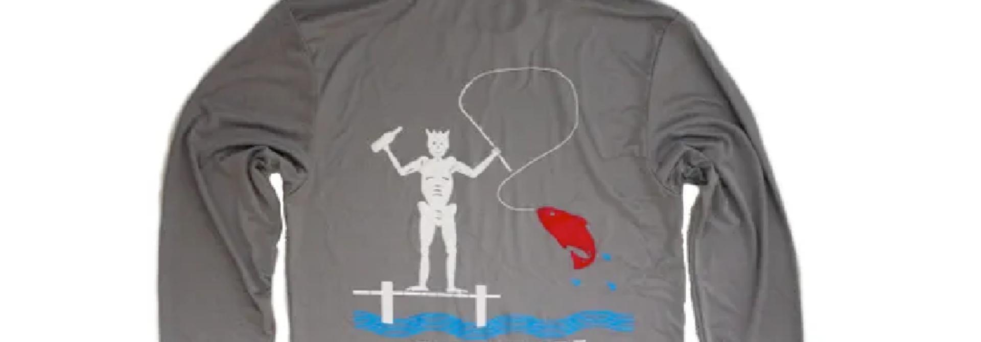 Go Fish Blackbeard, Long Sleeve Sun Shirt, Hooded, Grey