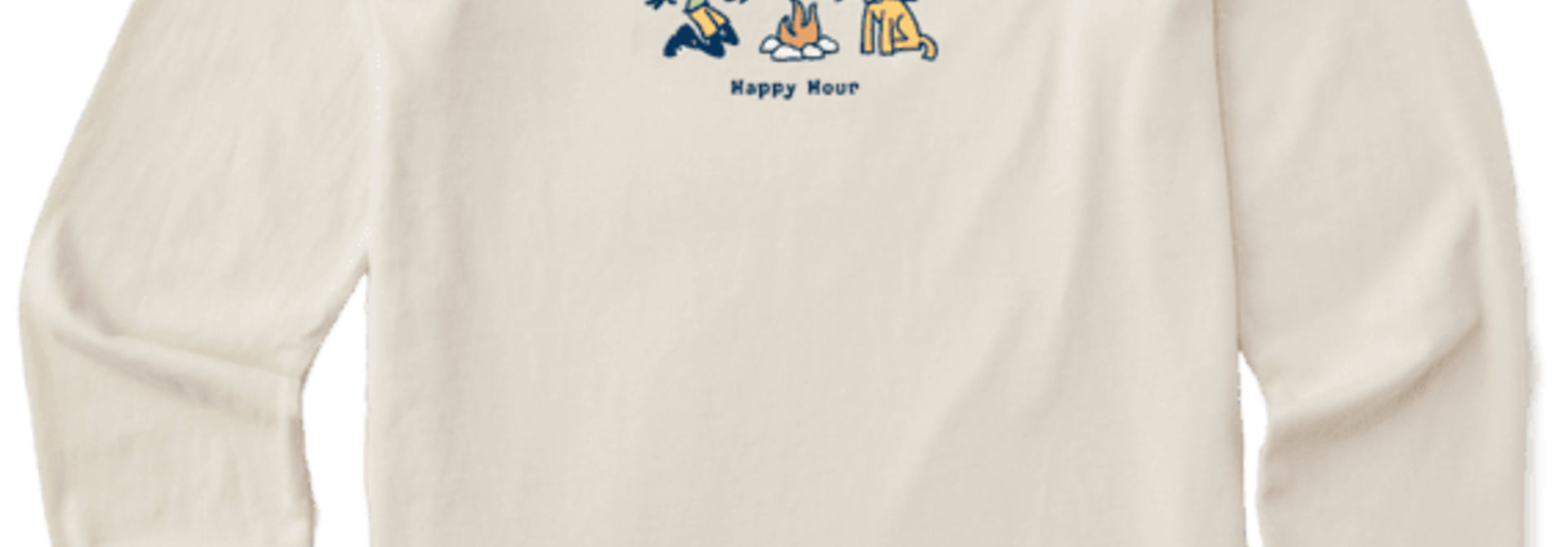 W's Jackie Happy Hour Long Sleeve Vintage Crusher Tee, Putty White