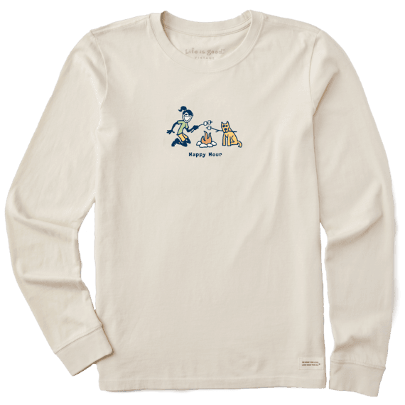 W's Jackie Happy Hour Long Sleeve Vintage Crusher Tee, Putty White-1