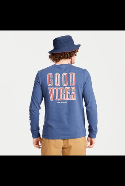 M's Good Vibes Athletic Long Sleeve Crusher Tee, Darkest Blue