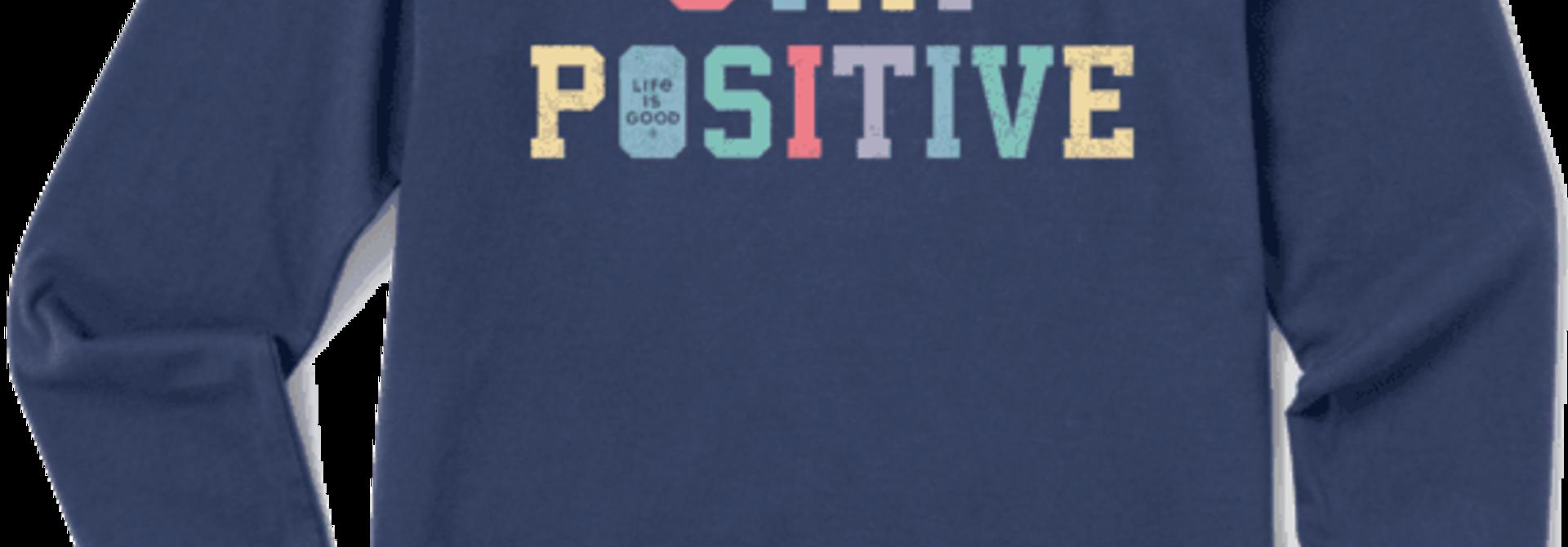 W's Stay Positive Athletic Crusher-Lite Long Sleeve Crew, Darkest Blue