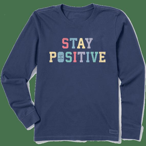 W's Stay Positive Athletic Crusher-Lite Long Sleeve Crew, Darkest Blue-1