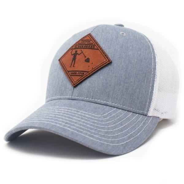 Blackbeard Pirate Flag, Leather Patch Trucker Hat, Heather Grey/White-1