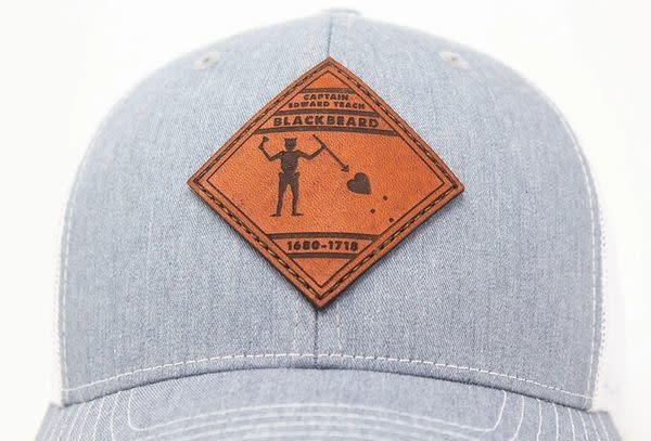 Blackbeard Pirate Flag, Leather Patch Trucker Hat, Heather Grey/White-3