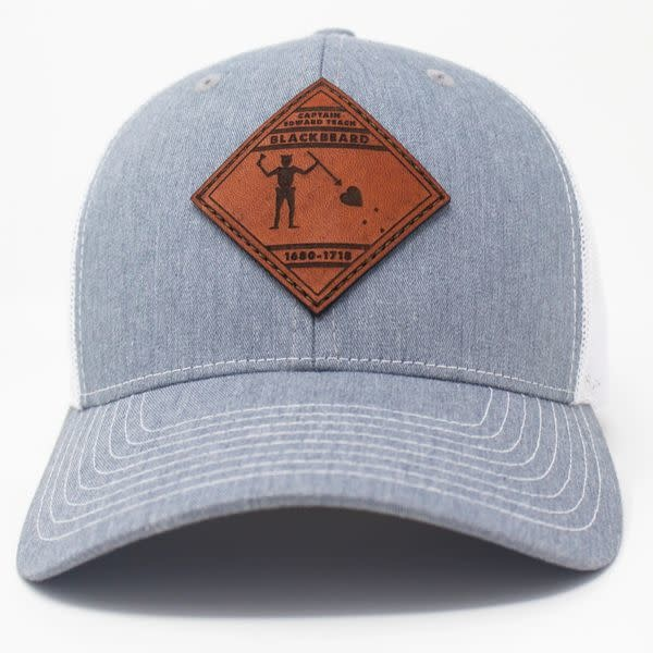 Blackbeard Pirate Flag, Leather Patch Trucker Hat, Heather Grey/White-5