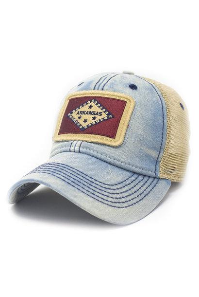 Arkansas Flag Patch Trucker Hat, Amer. Blue