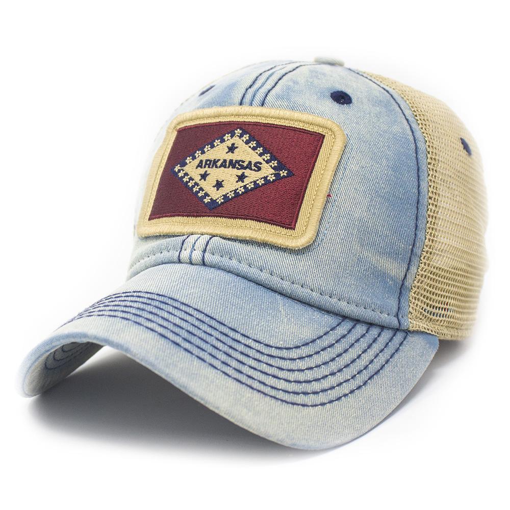 Arkansas Flag Patch Trucker Hat, Amer. Blue-1