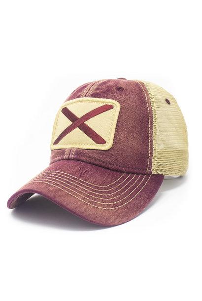 Alabama Flag Patch Trucker Hat, Brick Red