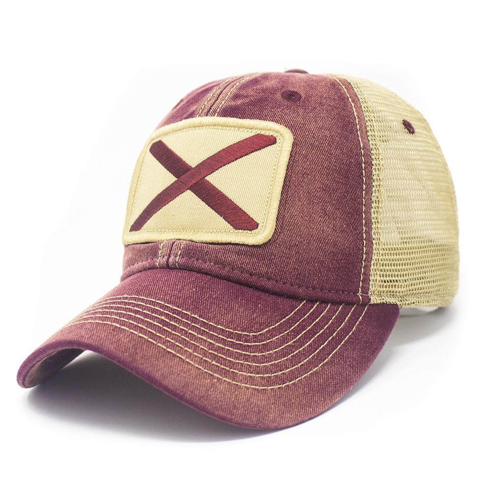 Alabama Flag Patch Trucker Hat, Brick Red-1