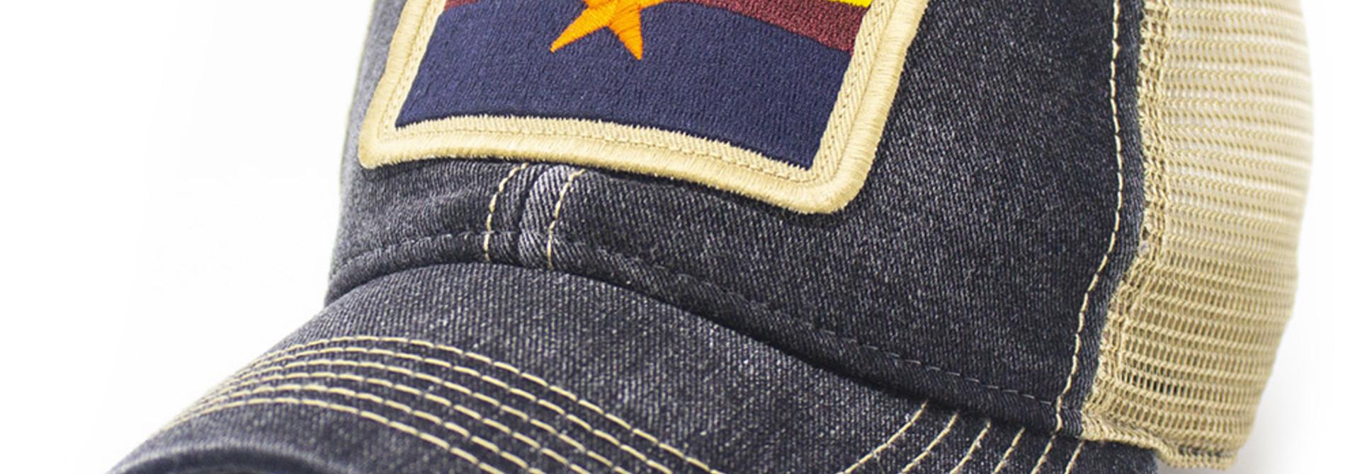 Arizona State Flag Trucker Hat, Black