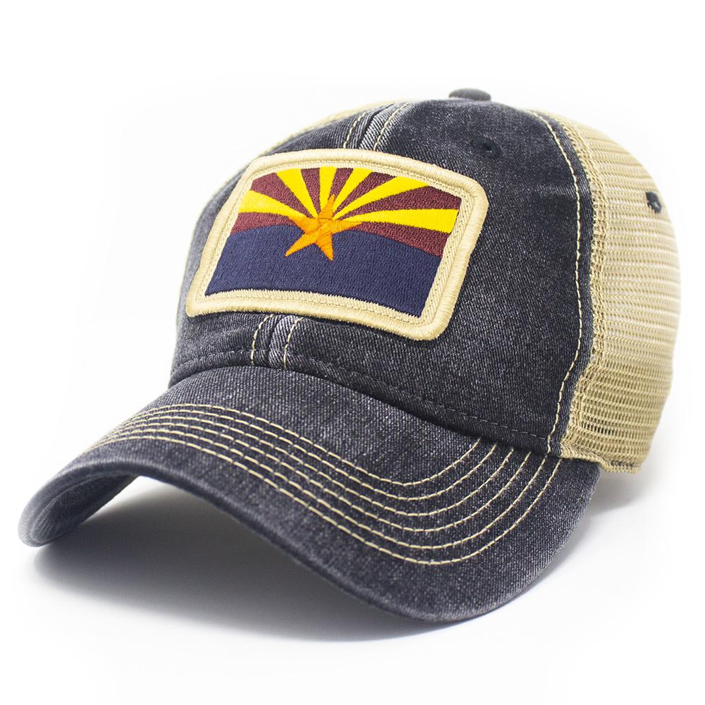 Arizona State Flag Trucker Hat, Black-1