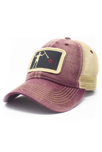 Blackbeard Pirate Flag Patch Trucker Hat, Brick Red