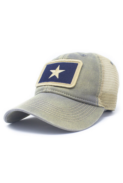 Bonnie Blue Flag Patch Trucker Hat, Drifter Gray