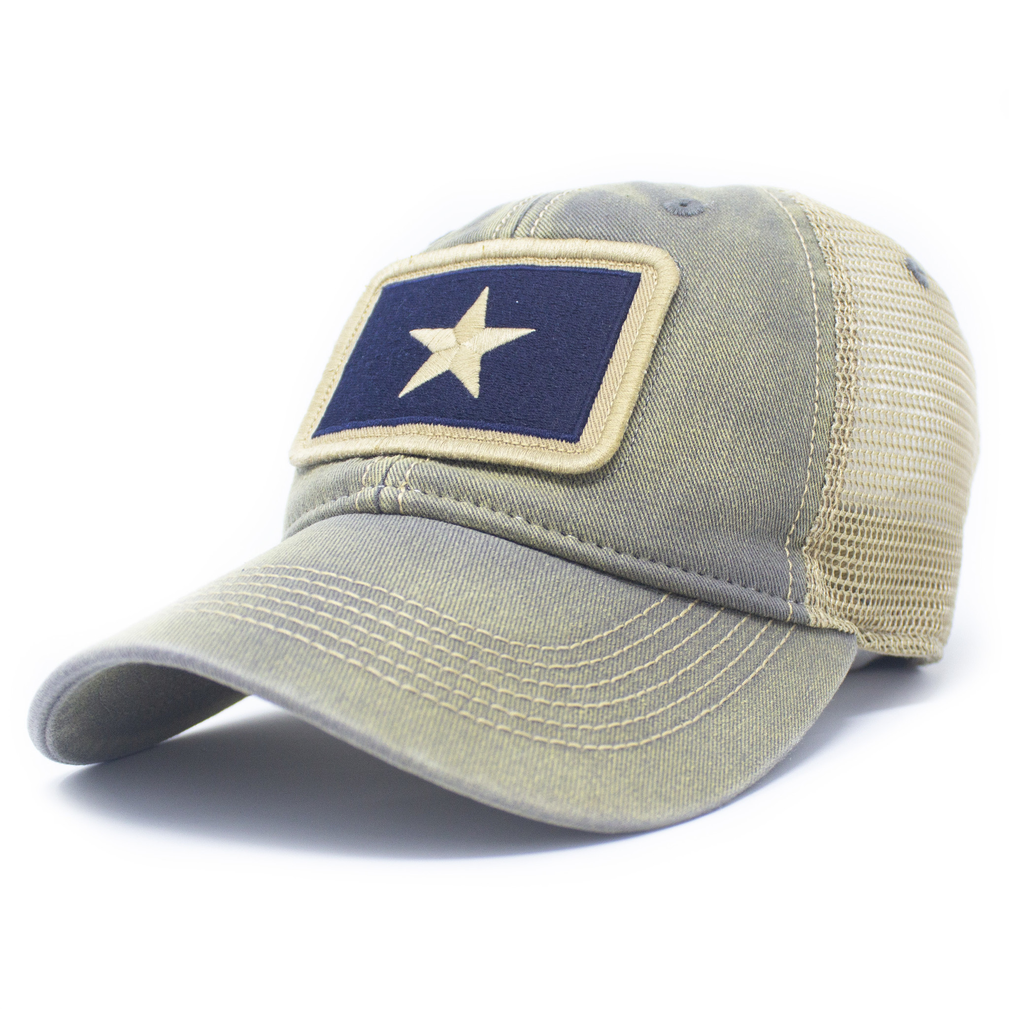 Bonnie Blue Flag Patch Trucker Hat, Drifter Gray-1