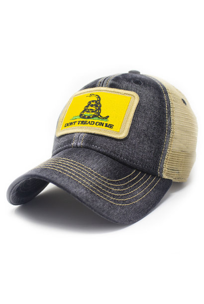Gadsden Don't Tread on Me Flag Trucker Hat, Black