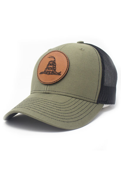 Leather Patch Trucker Hat, Don't Tread on Me, Loden/Black