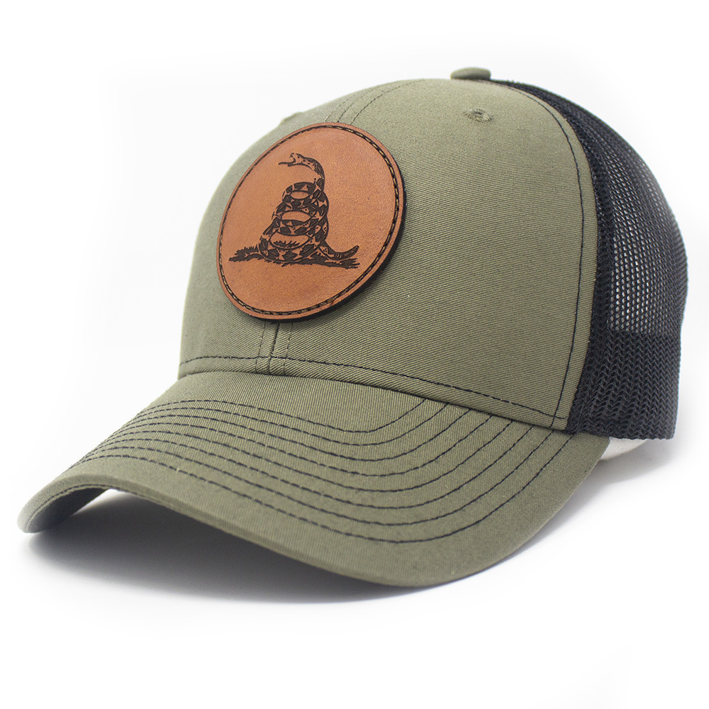 Leather Patch Trucker Hat, Don't Tread on Me, Loden/Black-1