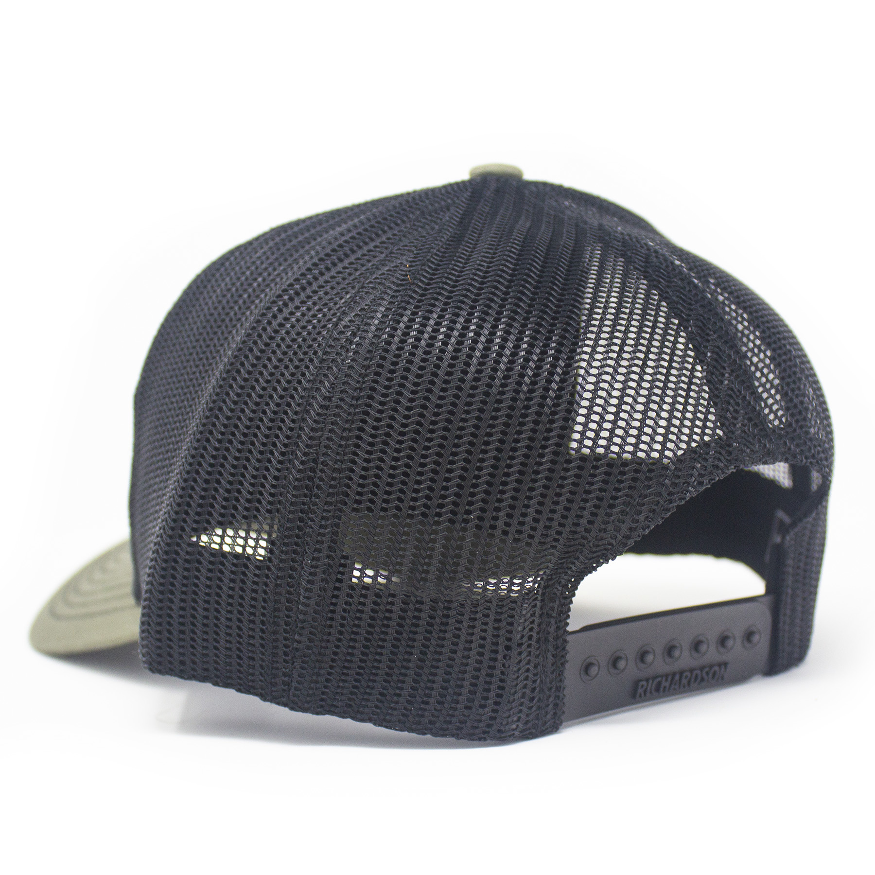 Leather Patch Trucker Hat, Don't Tread on Me, Loden/Black-2