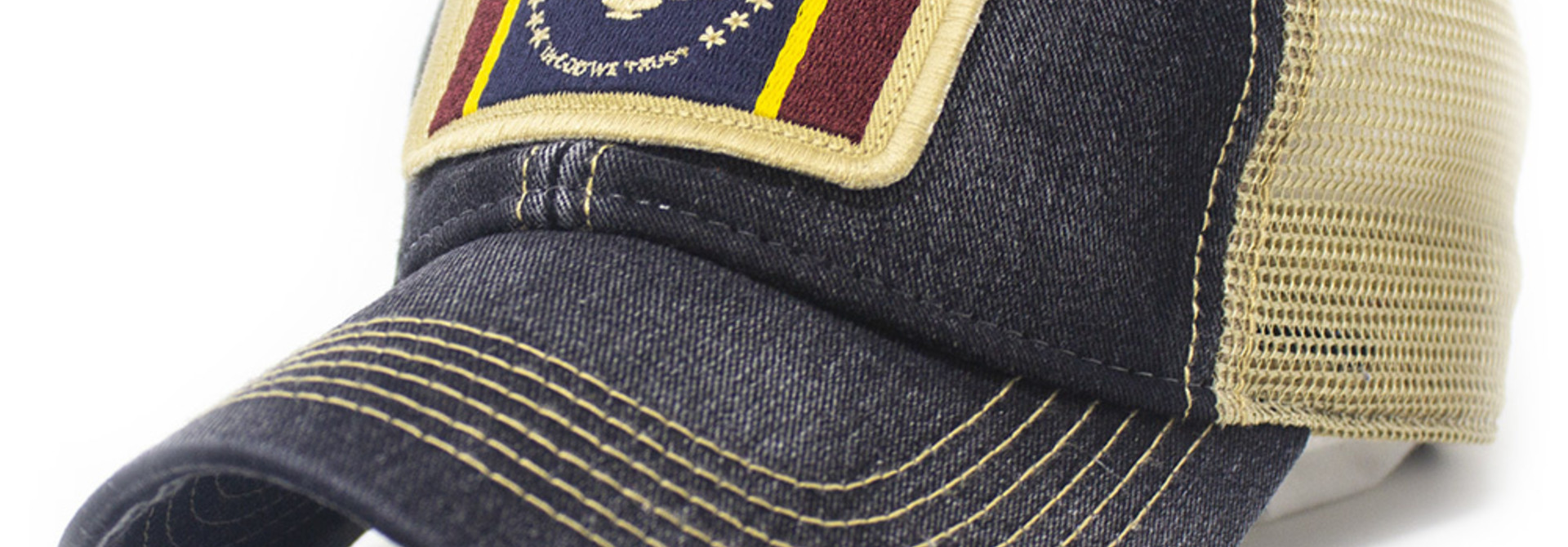 "Mississippi ""In God We Trust"" Flag Patch Trucker Hat, Black"