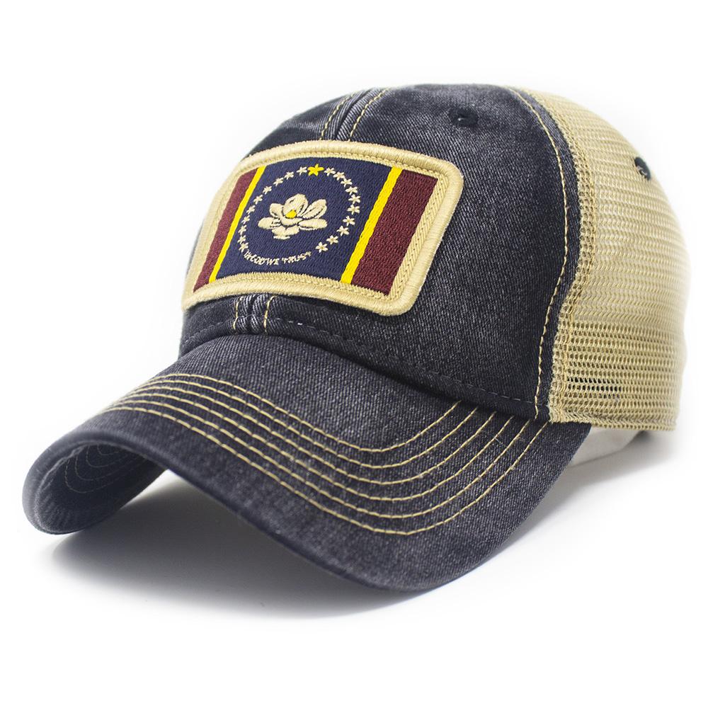 "Mississippi ""In God We Trust"" Flag Patch Trucker Hat, Black-1"