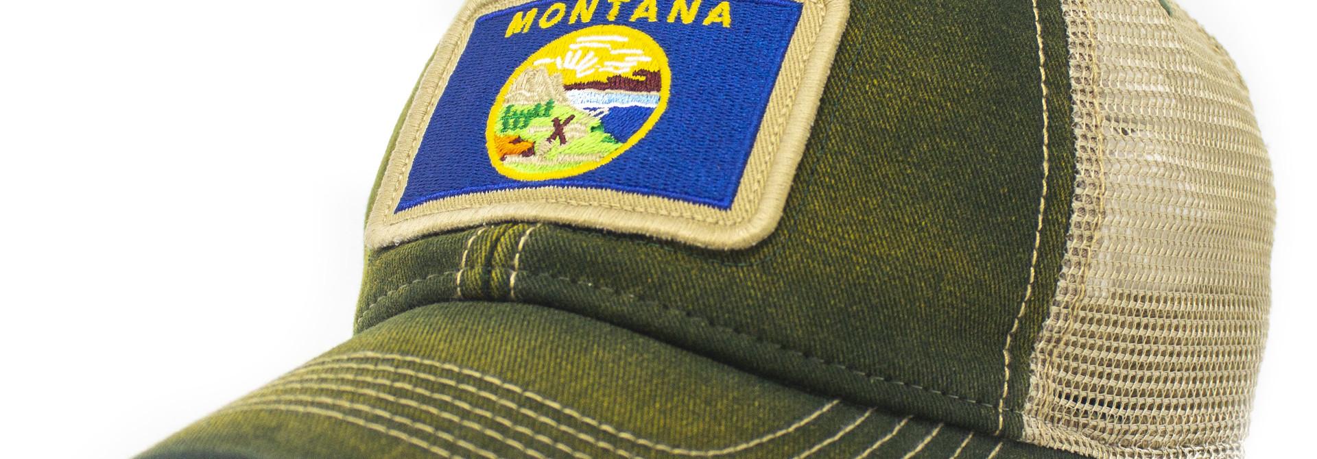 Montana Flag Patch Trucker Hat, Green
