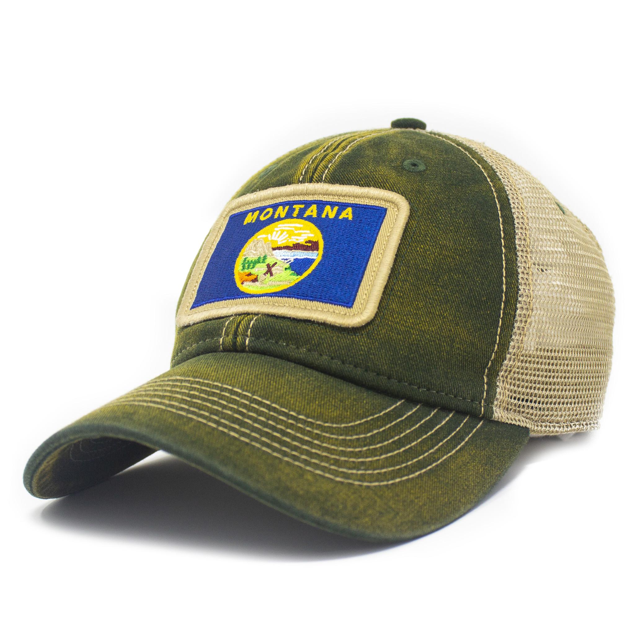 Montana Flag Patch Trucker Hat, Green-1