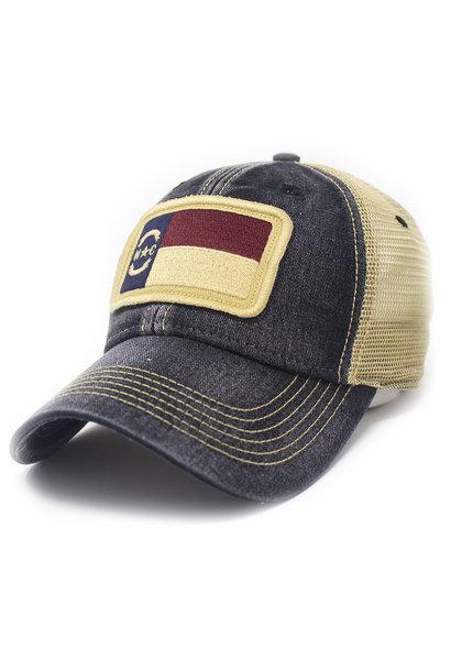 NC Flag Trucker Hat, Black