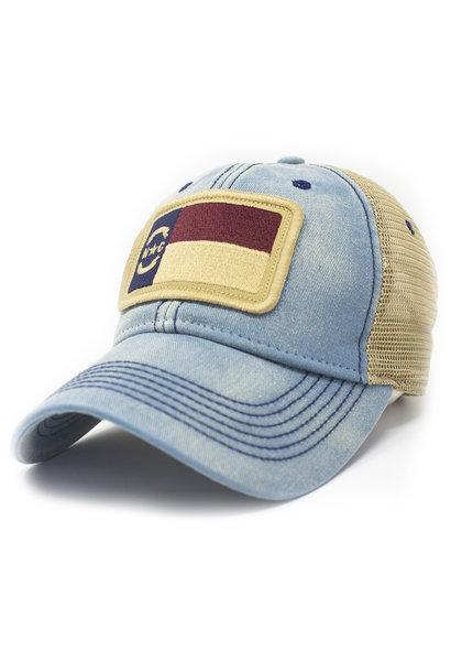 North Carolina  Flag Trucker Hat, Americana Blue