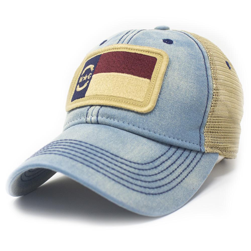 North Carolina  Flag Trucker Hat, Americana Blue-1