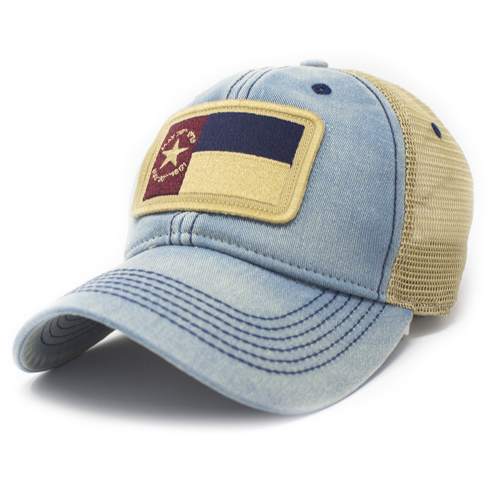 North Carolina 1861 Flag Trucker Hat, Americana Blue-1