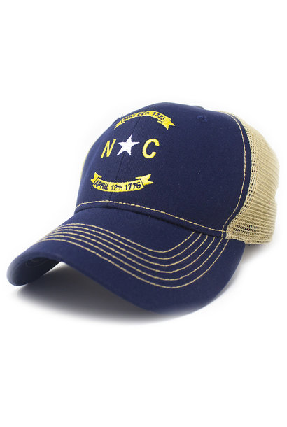 North Carolina Banner Trucker Hat, Structured, Navy