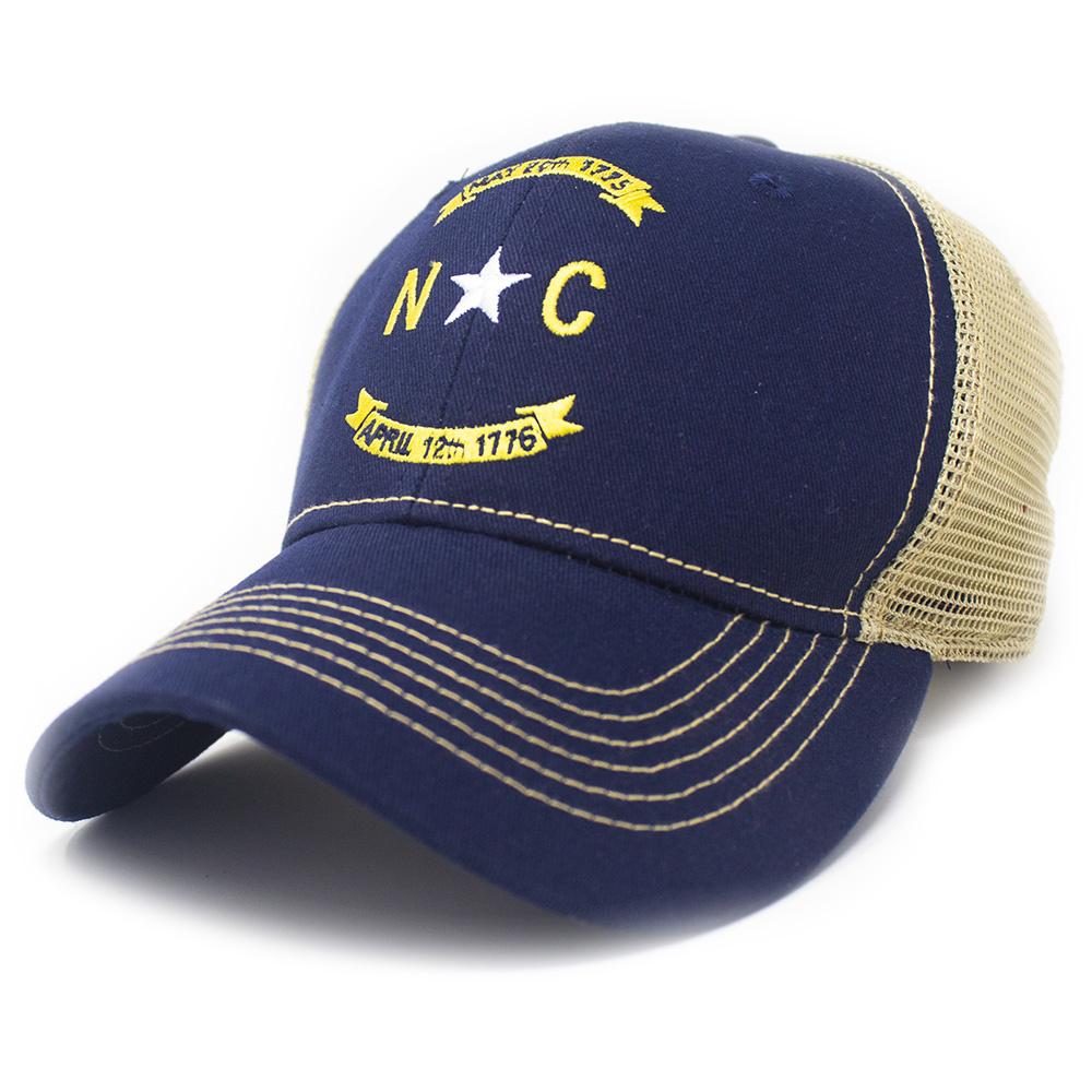 North Carolina Banner Trucker Hat, Structured, Navy-1
