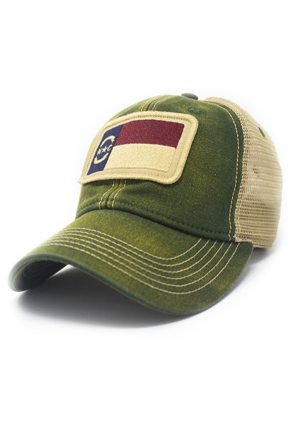 North Carolina Flag Trucker Hat, Green