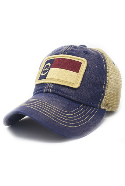 North Carolina Flag Trucker Hat, Navy