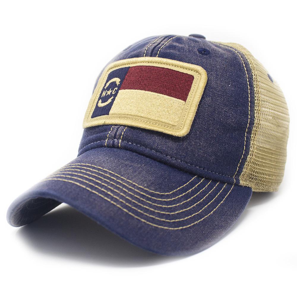 North Carolina Flag Trucker Hat, Navy-1