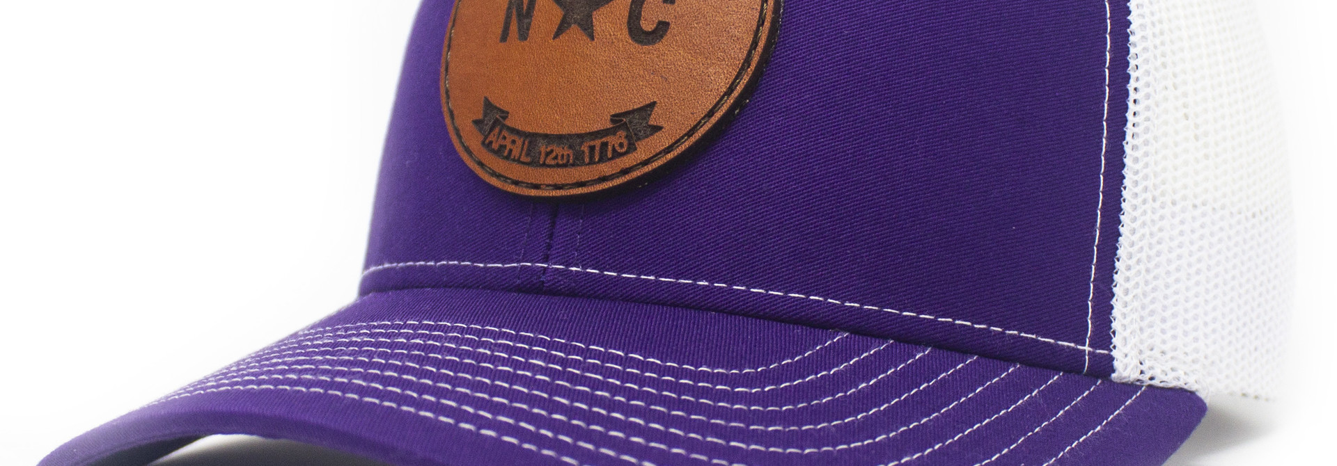 North Carolina Leather Patch Trucker Hat Purple/White