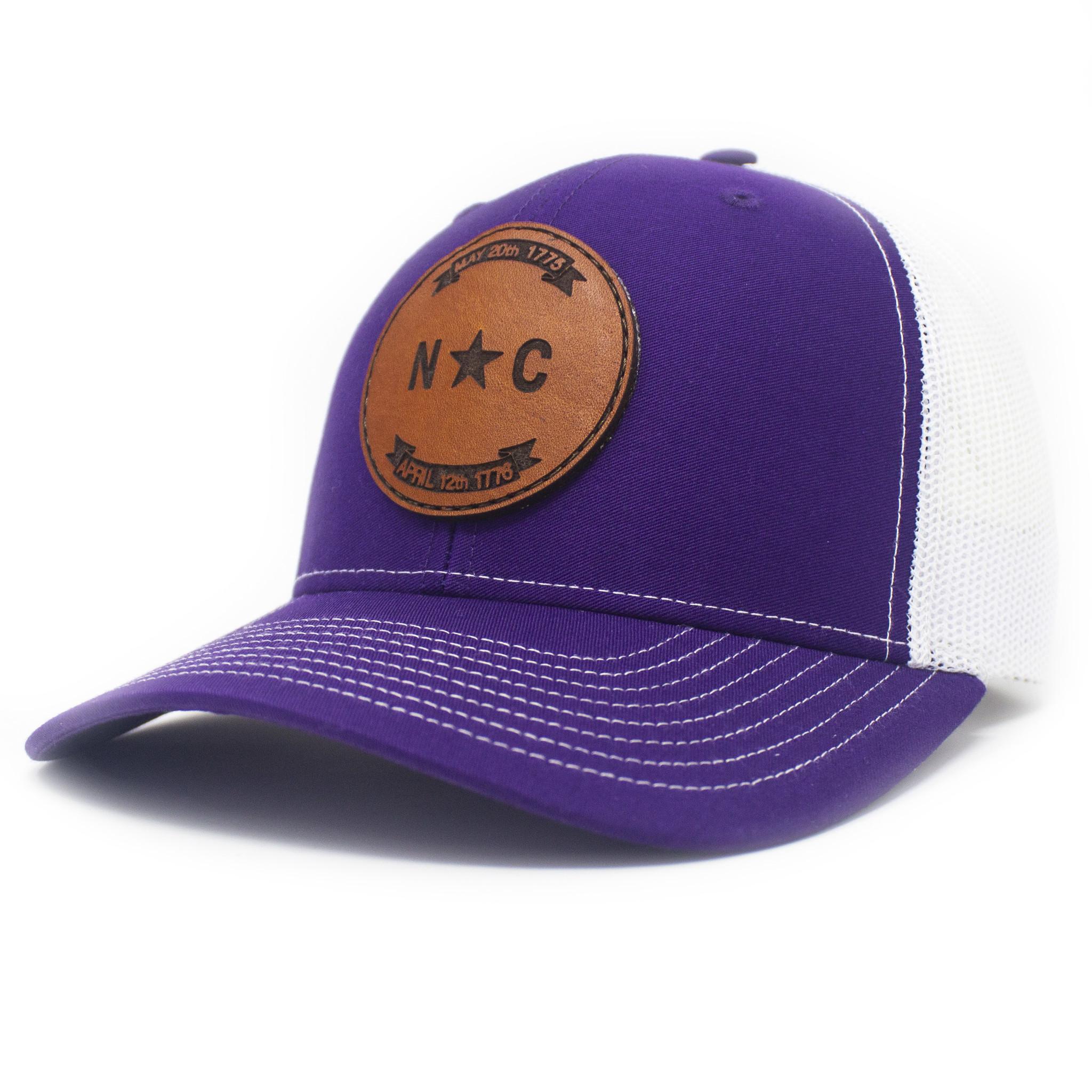 North Carolina Leather Patch Trucker Hat Purple/White-1