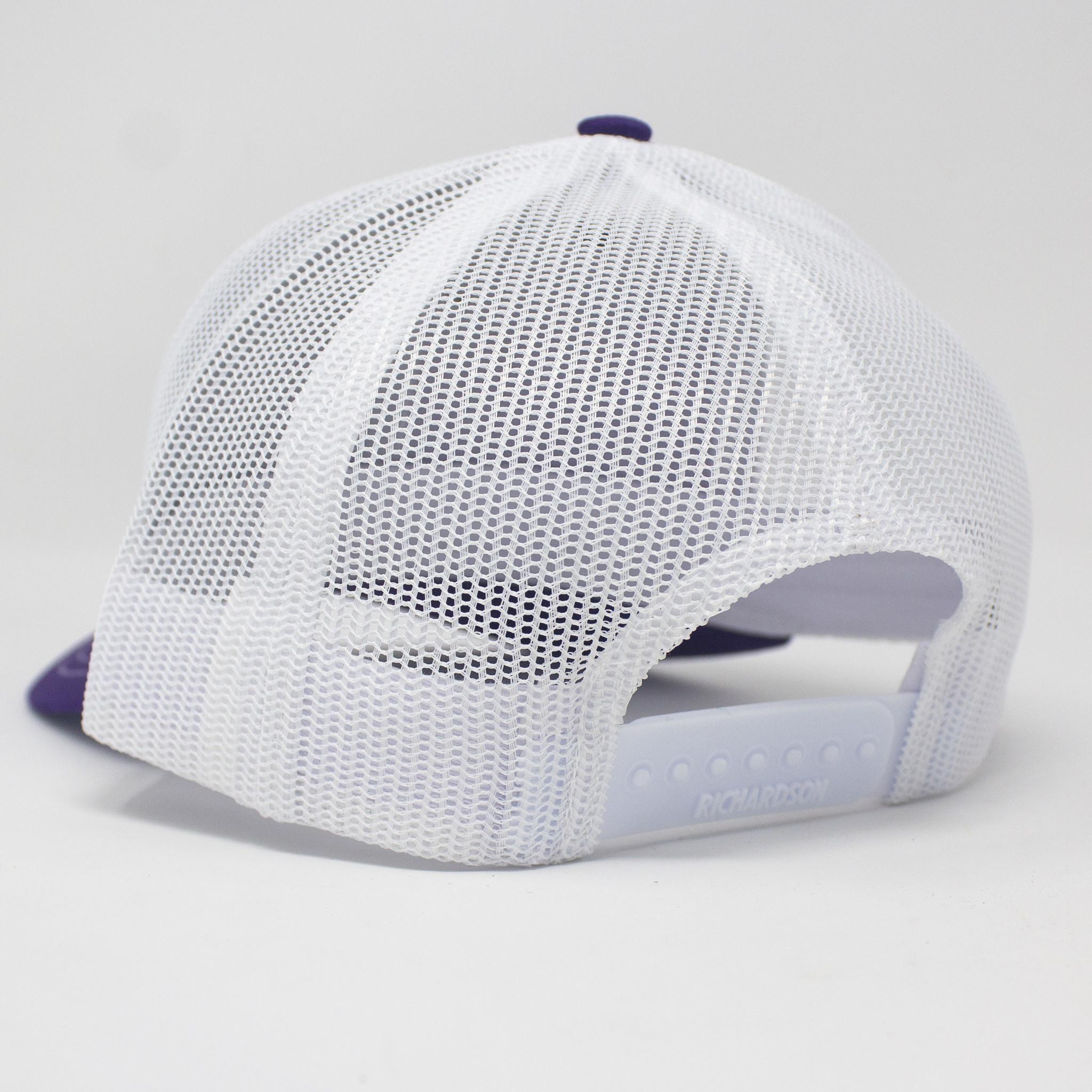 North Carolina Leather Patch Trucker Hat Purple/White-2