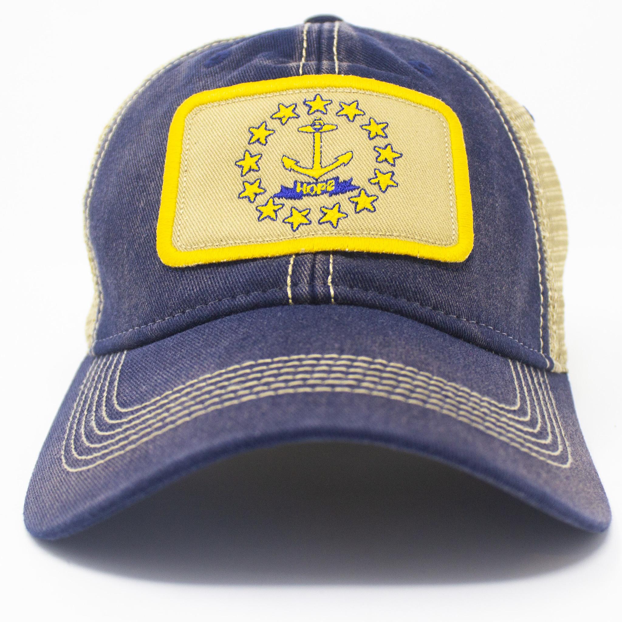 Rhode Island Flag Trucker Hat, Navy-3