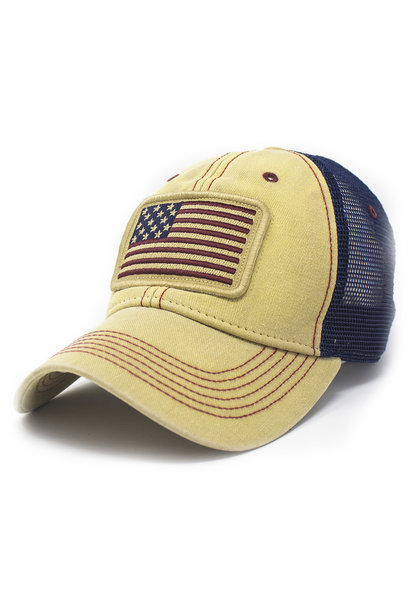 Stars and Stripes Trucker Hat, Natural Canvas