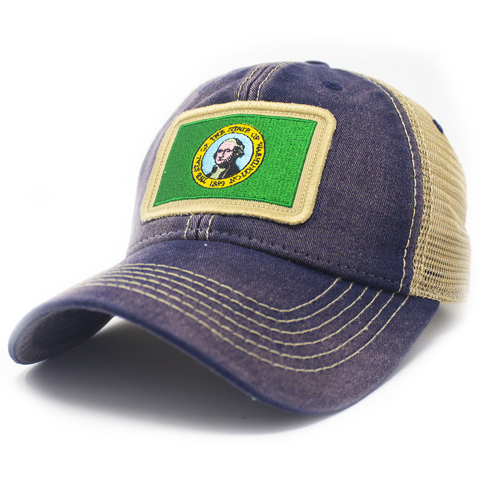 Washington Flag Patch Trucker Hat, Navy-1